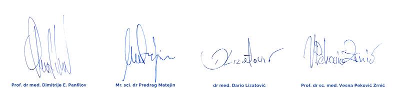 Potpisi dr Panfilov, dr Matejin, dr Lizatović i dr Peković-Zrnić